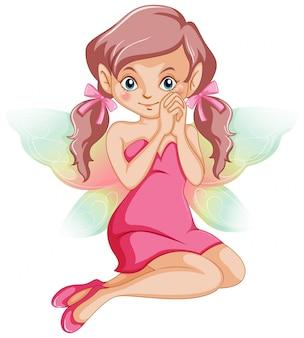 Fada bonito em vestido rosa