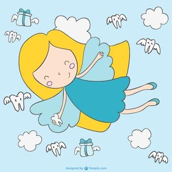 Fada bonito vetor dos desenhos animados de vôo