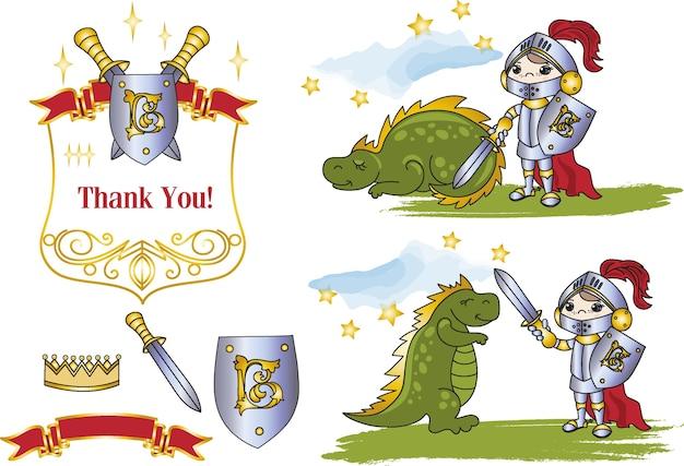 Fada clipart little king e dragão cor