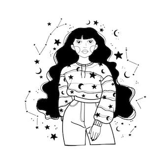Fada da noite mágica com uma lua. retrato desenhado de mão de uma linda mulher xamã.