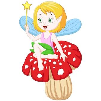 Fada de desenho animado sentada em um cogumelo