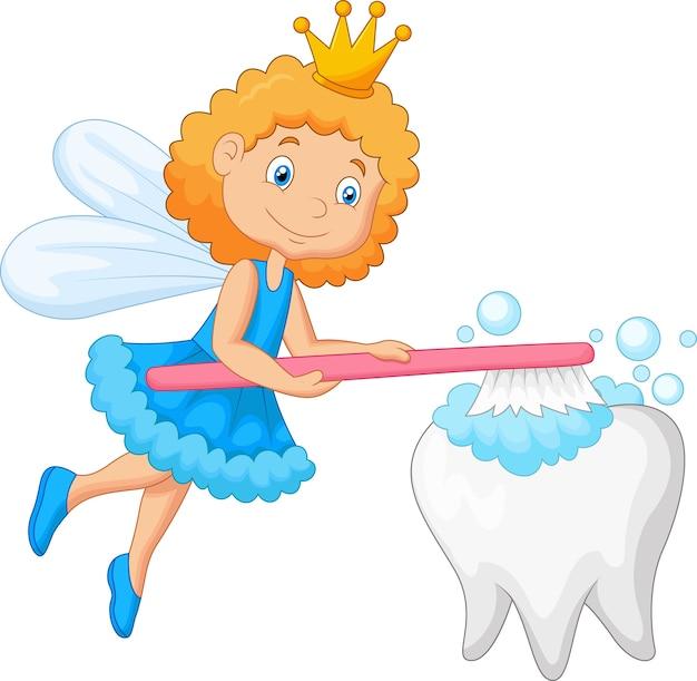 Fada dente, dente escovando