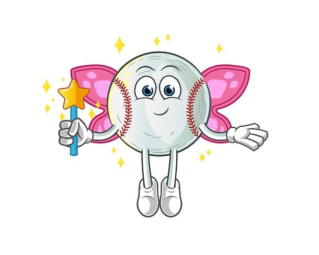 Fada do beisebol com asas e ilustração de personagem de pau