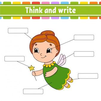 Fada idosa. pense e escreva. parte do corpo. aprendendo palavras.