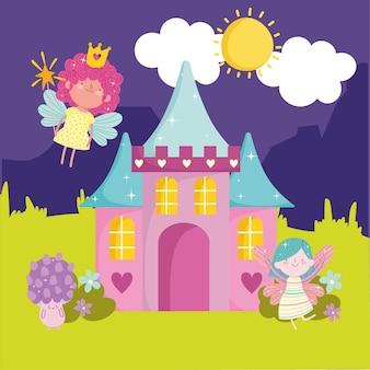 Fada linda paisagem de fantasia de castelo