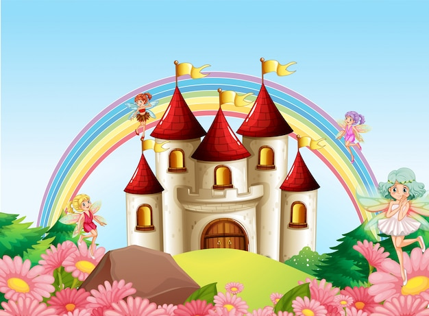 Fada no castelo medieval