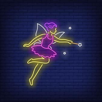 Fada no vestido roxo no estilo neon