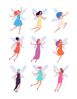 Fadas. bonecos de contos de fadas infantis com asas.