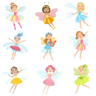 Fadas bonitos em vestidos bonitos conjunto de personagens de desenhos animados feminino