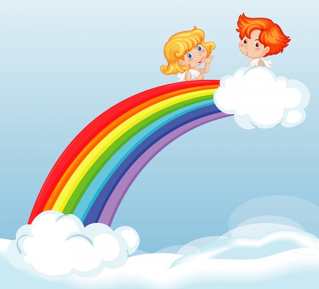 Fadas bonitos voando no céu com lindo arco-íris ilustração