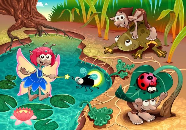 Fadas e gnomos brincando na natureza com animais.