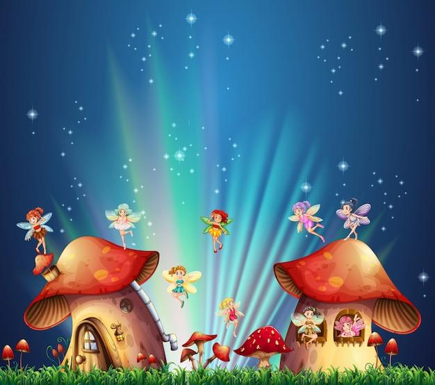 Fadas voando sobre casas de cogumelos