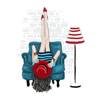 Fahion mulher subiu as pernas em uma parede