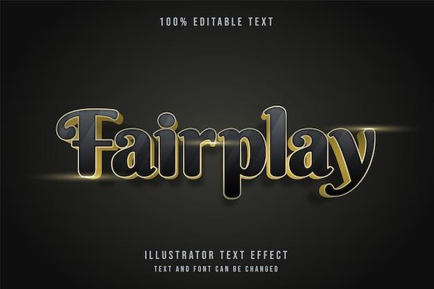 Fairplay, estilo de texto com gradação amarelo moderno com efeito de texto editável 3d