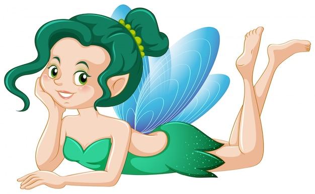 Fairy bonito em traje verde