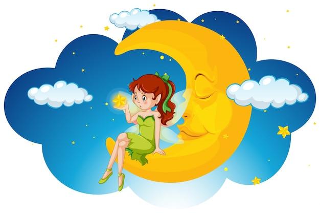 Fairy bonito sentado na lua