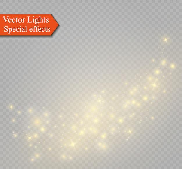 Faíscas amarelas brilham efeito de luz especial. brilhos em fundo transparente. padrão abstrato de natal. partículas de poeira mágica cintilante