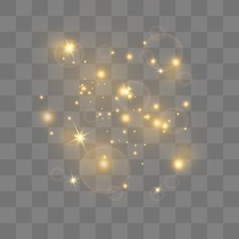 Faíscas amarelas e estrelas douradas brilham com um efeito de luz especial. partículas brilhantes de pó de fada. brilha em um fundo transparente.