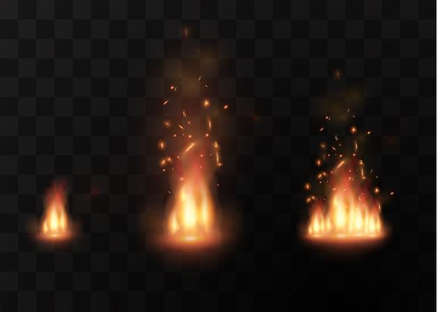 Faíscas ardentes de luzes boke piscam