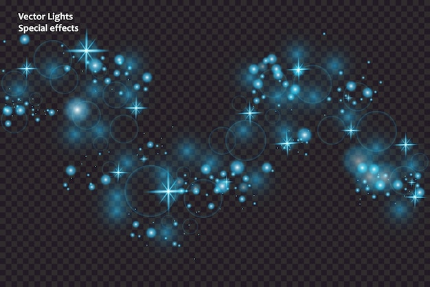 Faíscas azuis e estrelas brilham com efeito de luz especial. partículas de poeira mágica cintilantes