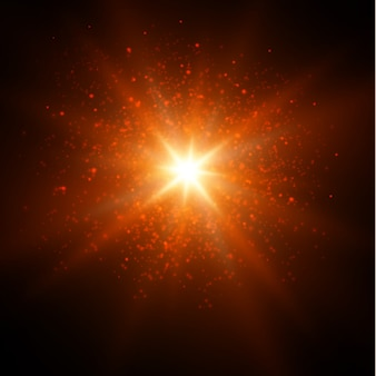 Faíscas brancas brilham efeito de luz especial. brilha em fundo transparente.