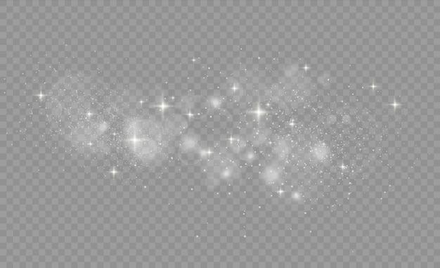 Faíscas brancas brilham efeito de luz especial. pó de estrelas faíscas em uma explosão. textura de glitter branco. partículas de poeira mágica cintilante.