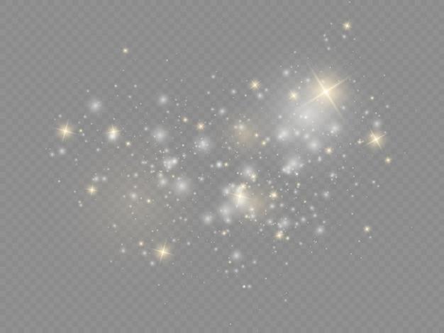 Faíscas brancas brilham estrela natal efeito de luz cintilante partículas de pó mágico cintilam