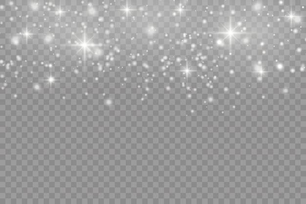 Faíscas brancas com um efeito de luz especial. partículas cintilantes de pó de fada.