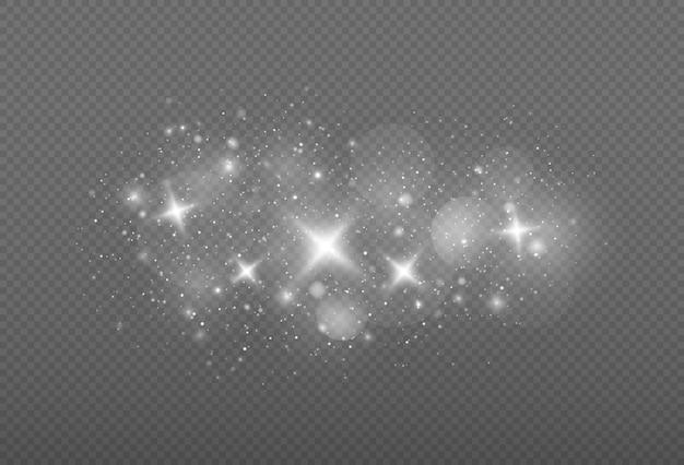 Faíscas brancas e estrelas brilham com efeito de luz especial padrão abstrato de natal