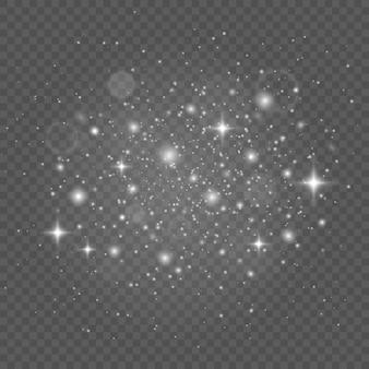 Faíscas brancas e estrelas brilham com efeito de luz especial