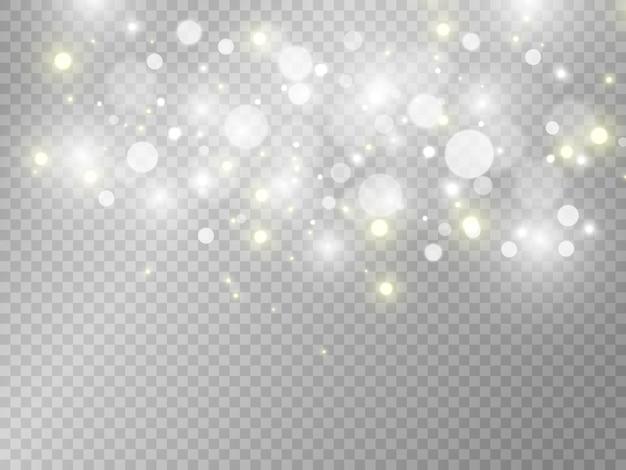 Faíscas brancas e estrelas douradas brilham com efeito de luz especial, brilhos em fundo transparente.