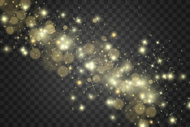 Faíscas brancas e estrelas douradas brilham com efeito de luz especial em fundo transparente.