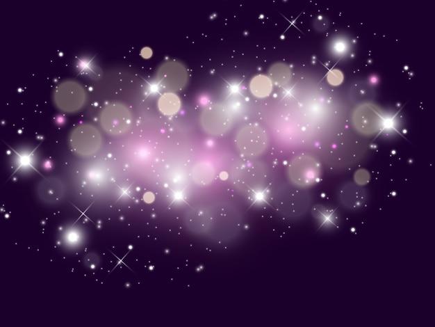 Faíscas brancas e estrelas douradas brilham com efeito de luz especial. partículas de poeira mágica cintilantes