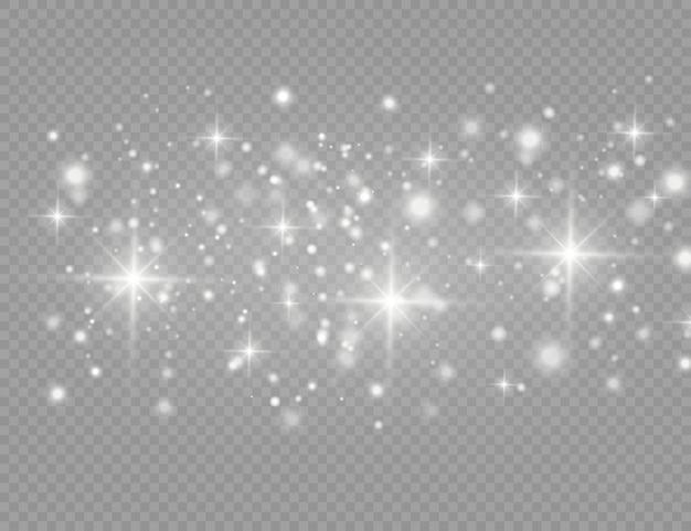 Faíscas brancas e estrelas douradas brilham com efeito de luz especial.