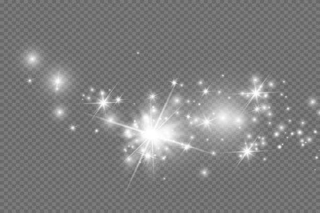 Faíscas brancas e estrelas douradas brilham com efeito de luz especial