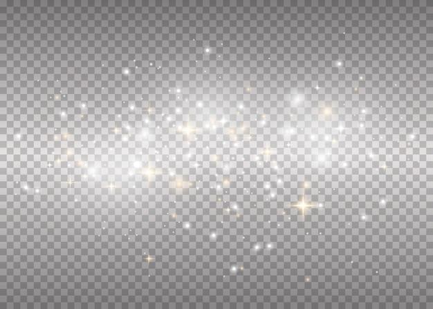 Faíscas brancas e estrelas douradas brilham com luz especial. flash de natal.