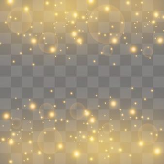 Faíscas brancas e estrelas douradas brilham com um efeito de luz especial. partículas brilhantes de pó de fada. brilha em um fundo transparente. teste padrão abstrato do natal