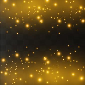 Faíscas brancas e estrelas douradas brilham com um efeito de luz especial. partículas brilhantes de pó de fada. brilha em um fundo transparente.
