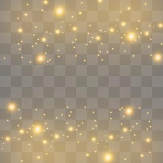 Faíscas brancas e estrelas douradas brilham com um efeito de luz especial. partículas brilhantes de pó de fada.