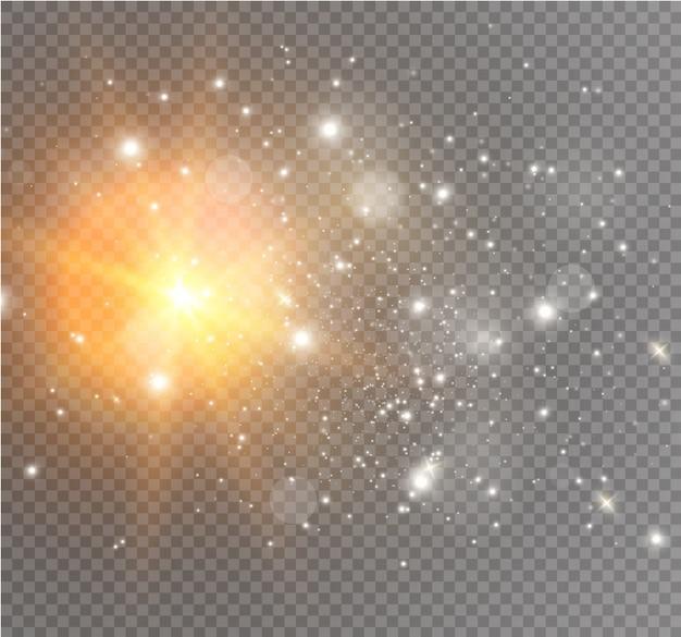 Faíscas brancas e estrelas douradas brilham efeito de luz especial. brilha em fundo transparente. partículas de poeira mágica cintilante. Vetor Premium