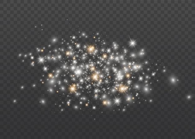 Faíscas brancas e estrelas douradas brilham efeito de luz especial. brilhos em fundo transparente. partículas de poeira mágica cintilante