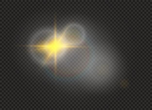 Faíscas brancas e estrelas douradas brilham efeito de luz especial. brilhos em fundo transparente.