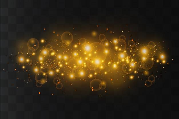 Faíscas brancas e estrelas douradas brilham efeito de luz especial