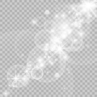 Faíscas brancas, estrelas brilham com um efeito de luz especial.