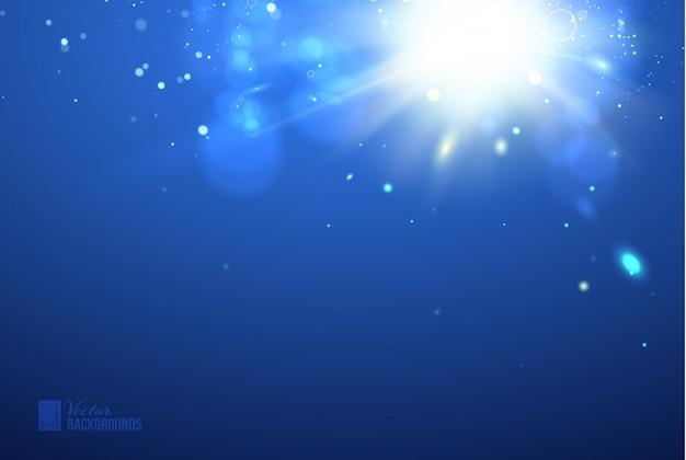 Faíscas brilhantes fundo azul