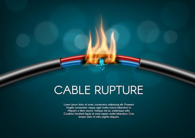 Faíscas de fio de energia elétrica queimam