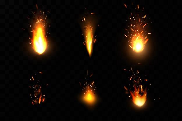 Faíscas de fogo ardentes.