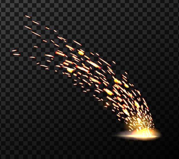 Faíscas de fogo de metal de solda, durante o corte de ferro.