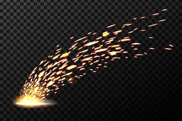 Faíscas de fogo de metal de solda