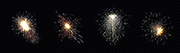Faíscas de fogo de soldagem de metal, corte de ferro ou fogos de artifício.